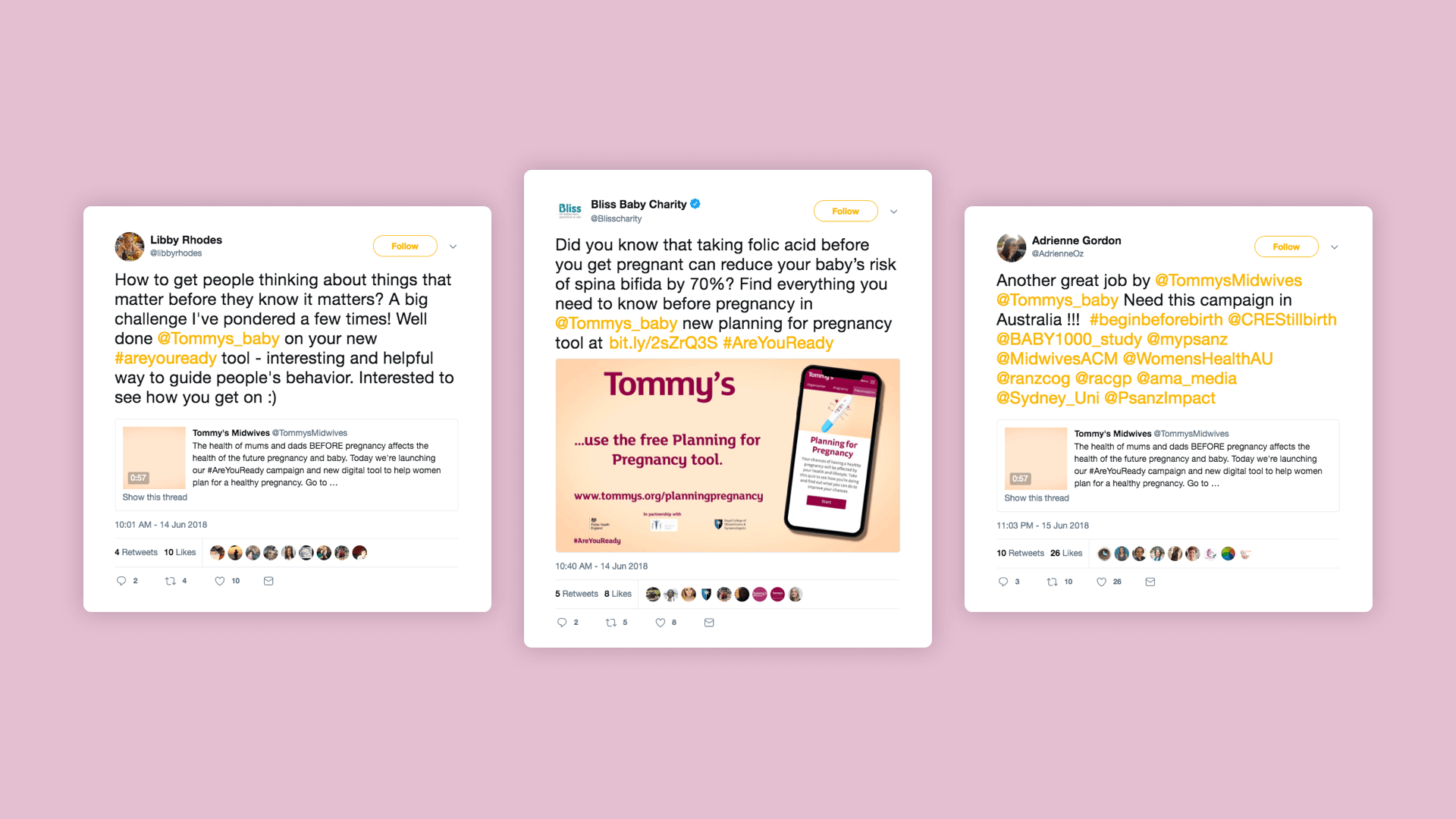 Website design of twitter tweet for charity company Tommy's
