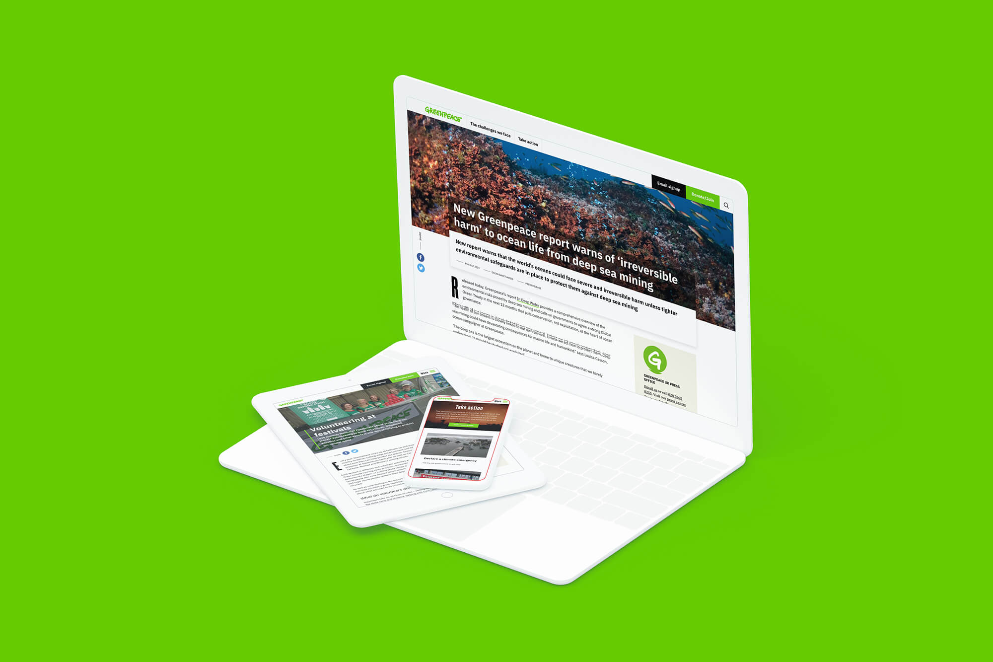 Greenpeace's site on a laptop with mobile and tablet on the keyboard