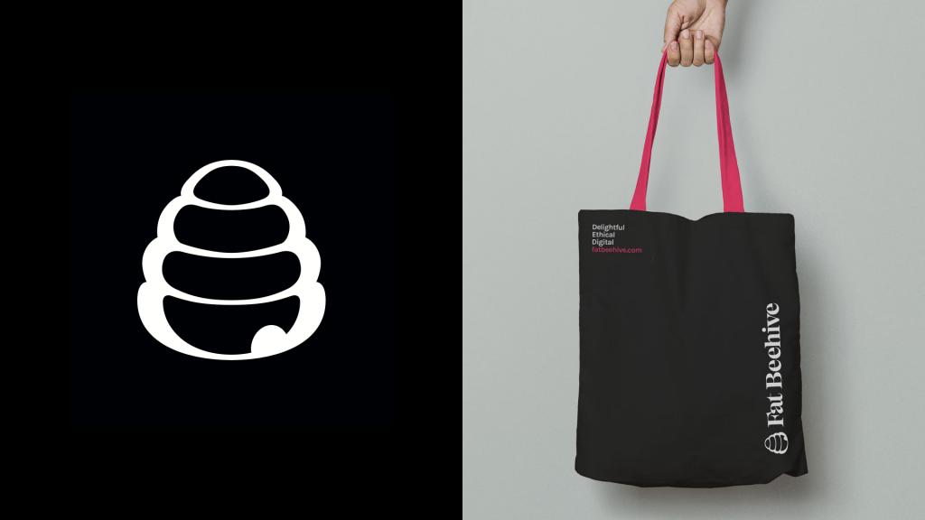 A Fat Beehive tote bag mockup