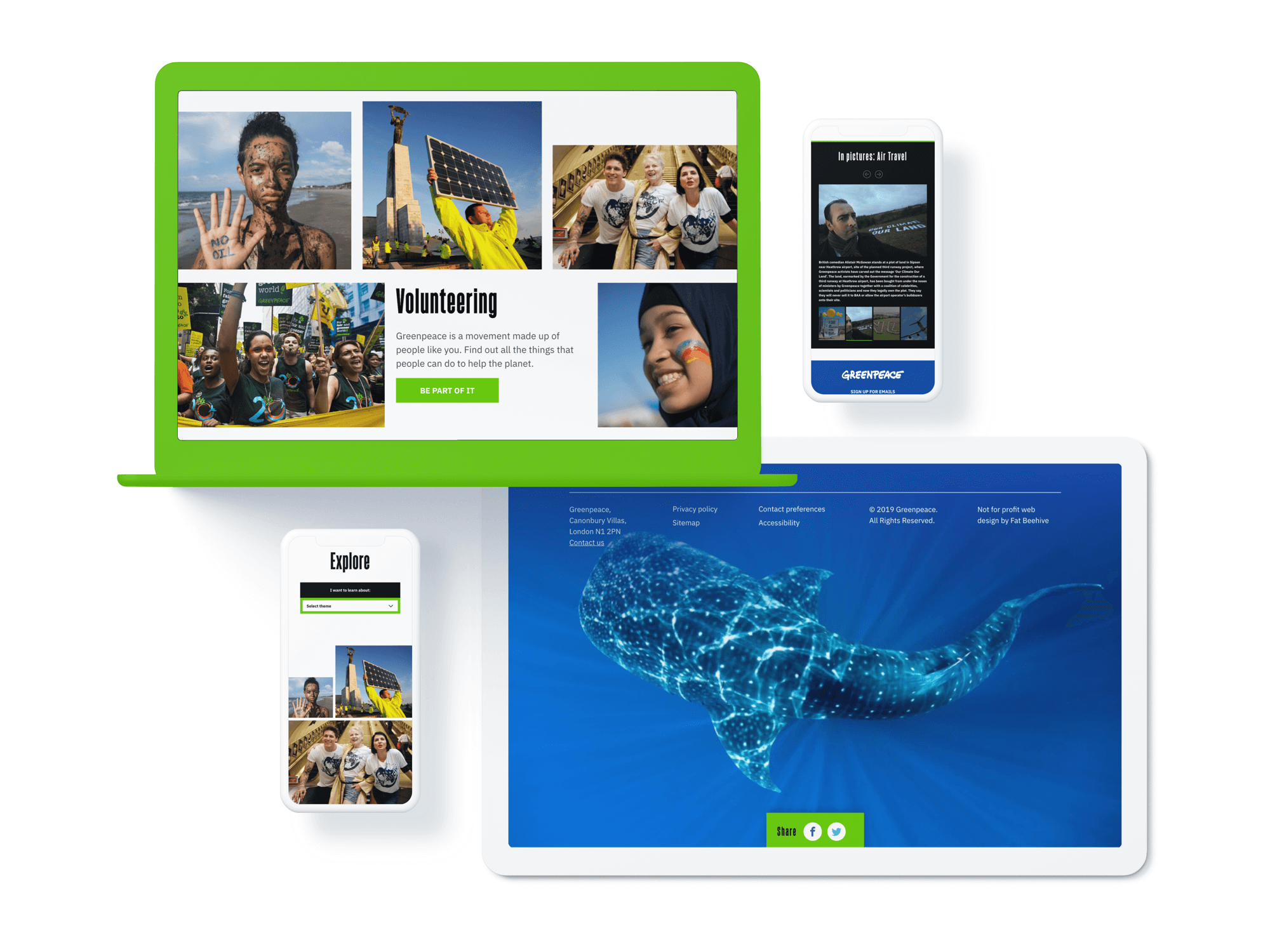 The 2019 Greenpeace UK website shown on different devices