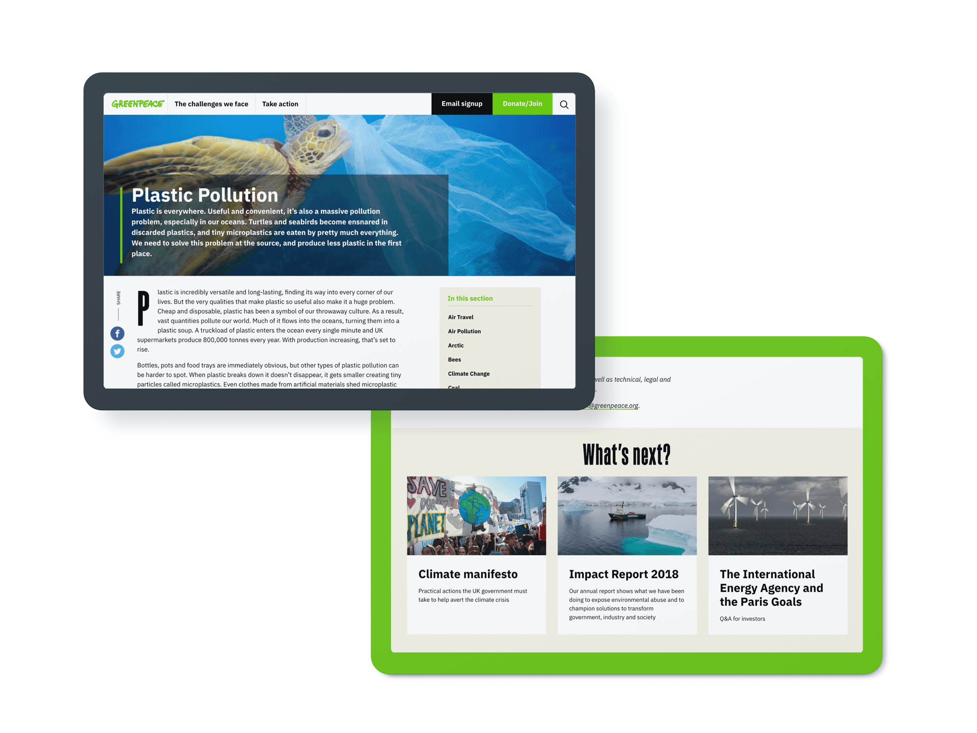Different page designs for the new Greenpeace UK website