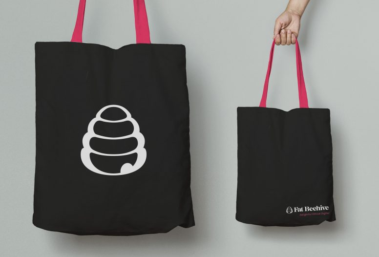 Fat Beehive new brand applied to a tote bag