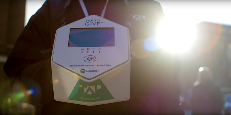 Contactless payment device to accept donations
