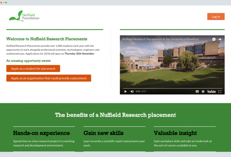 Nuffield foundation homepage designs