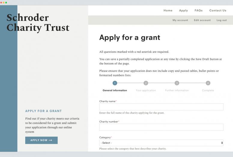 Schroder Charity Trust application design page