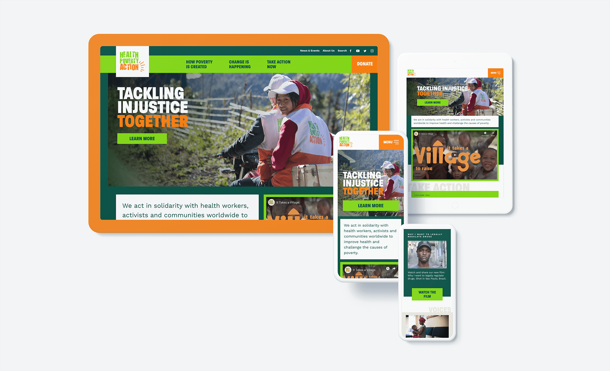 The Health Poverty Action site as it displays across devices