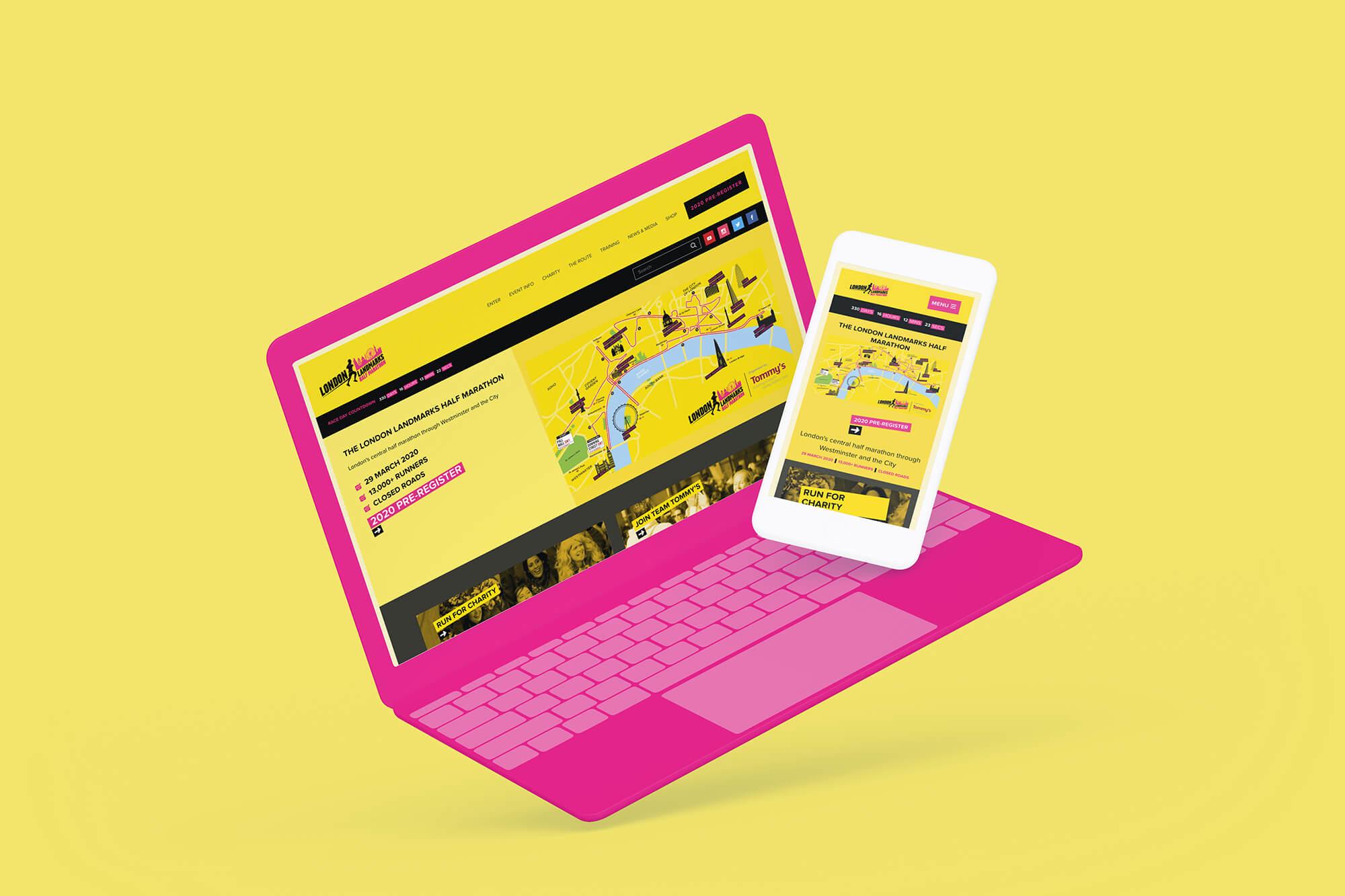 London Landmarks Half Marathon website mobile view