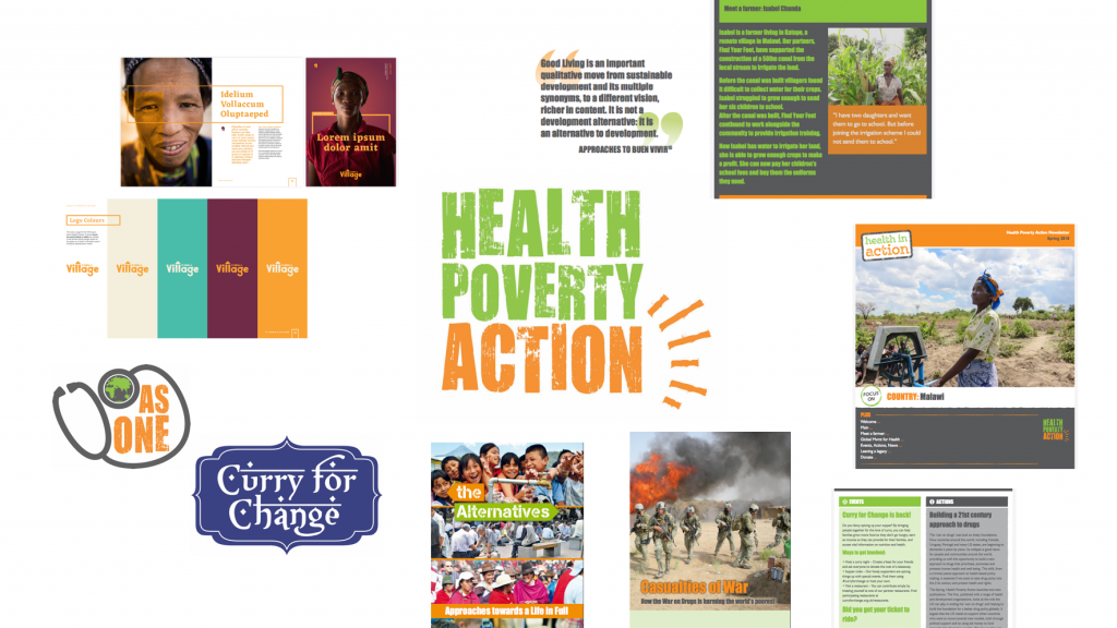 The wide variety of old Health Poverty Action design assets lacked quality