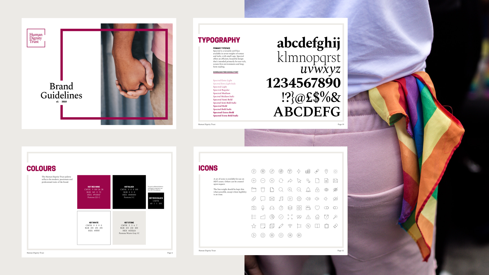 Some pages from the Human Dignity Trust brand guidelines