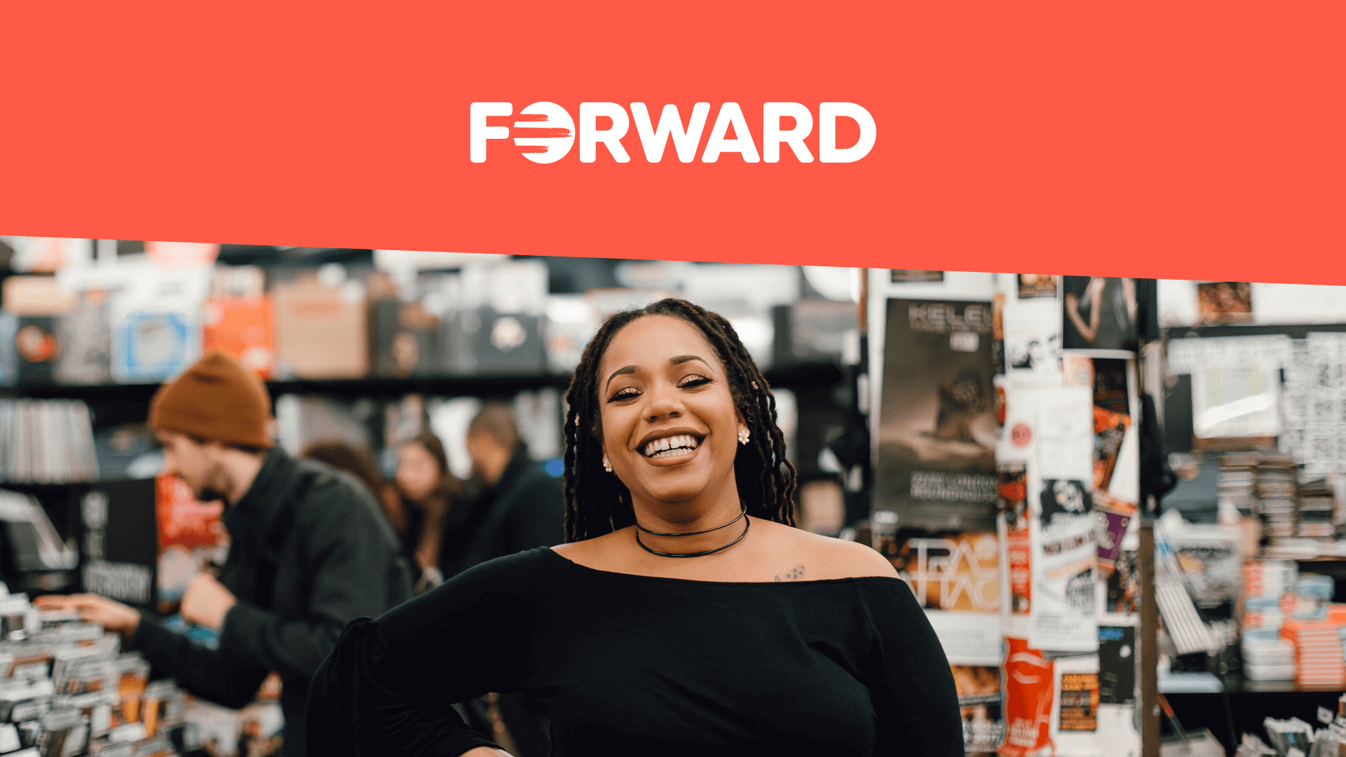 Woman smiling at the camera alongside new FORWARD logo