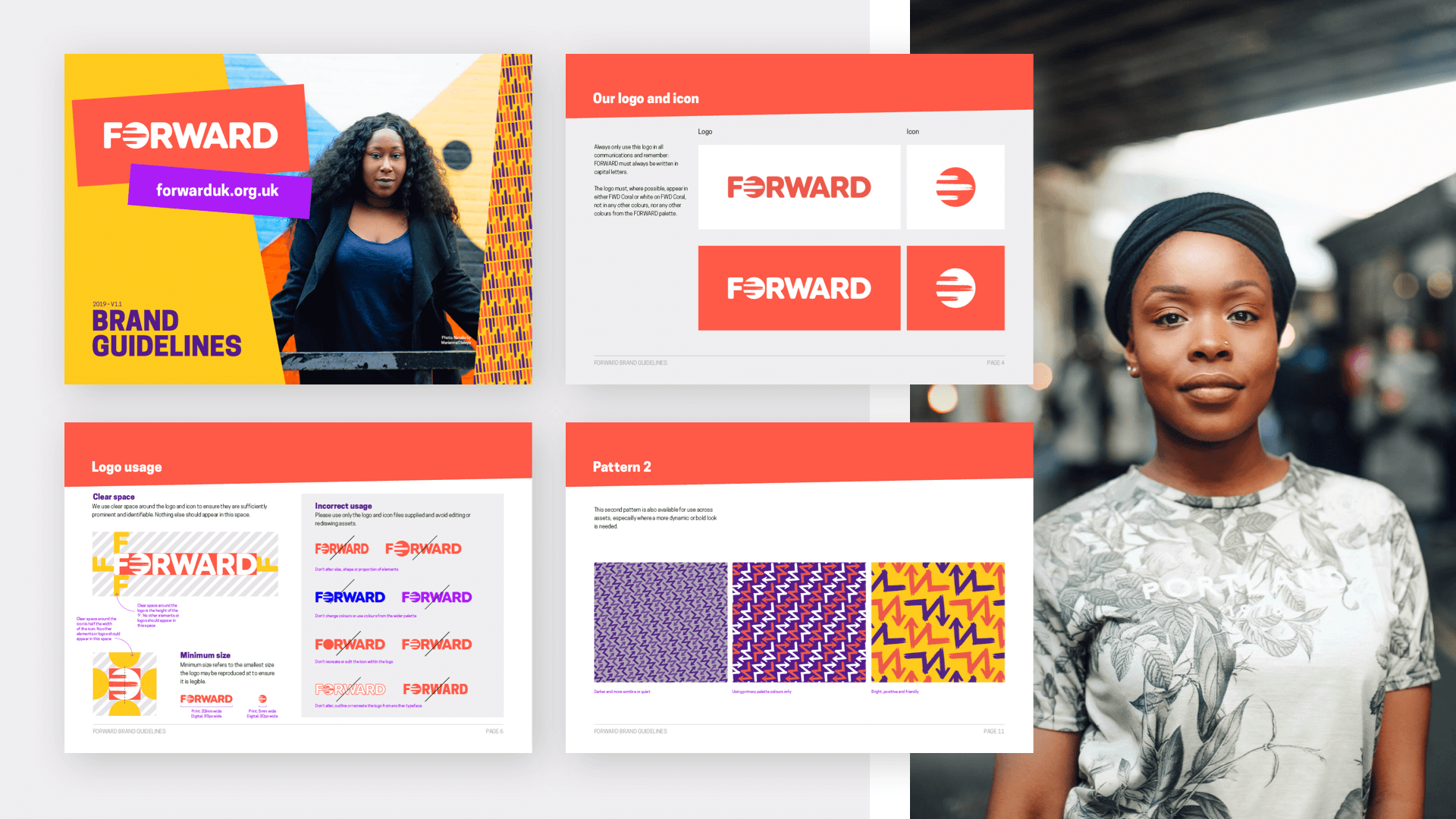FORWARD new brand guidelines showcasing logos and patterns