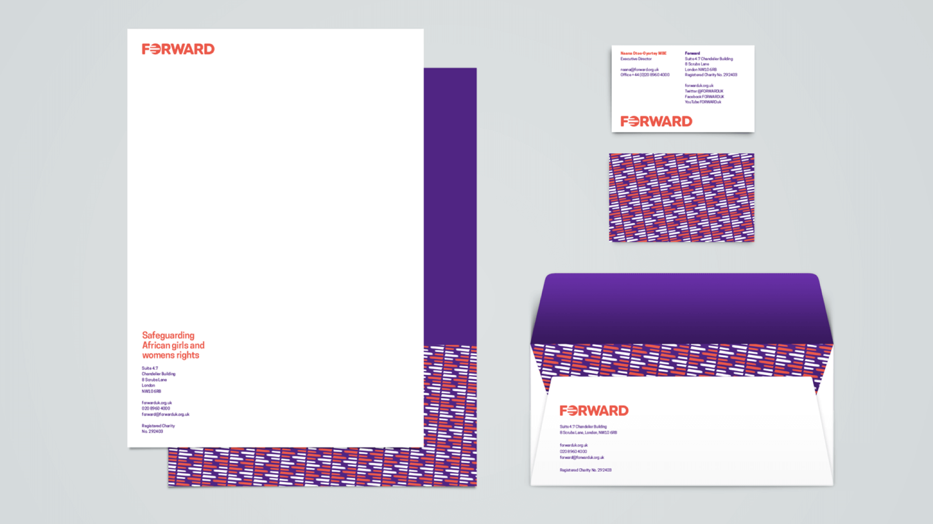 FORWARD stationary samples featuring the redesigned brand