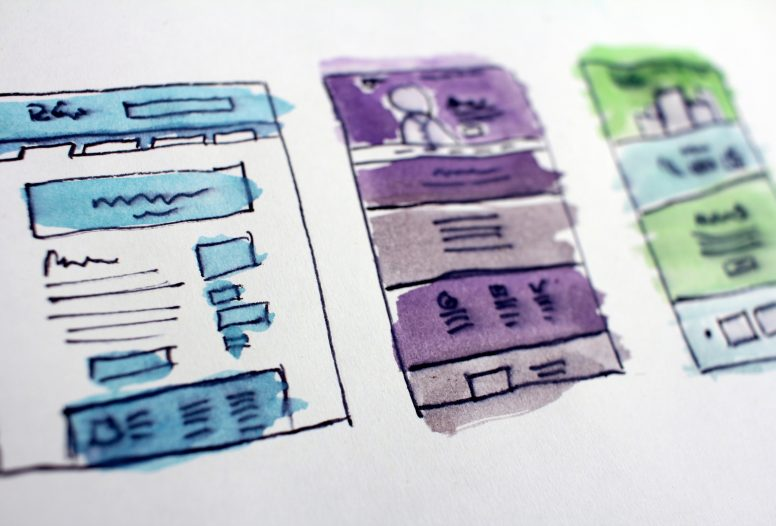 Three different wireframe diagram examples