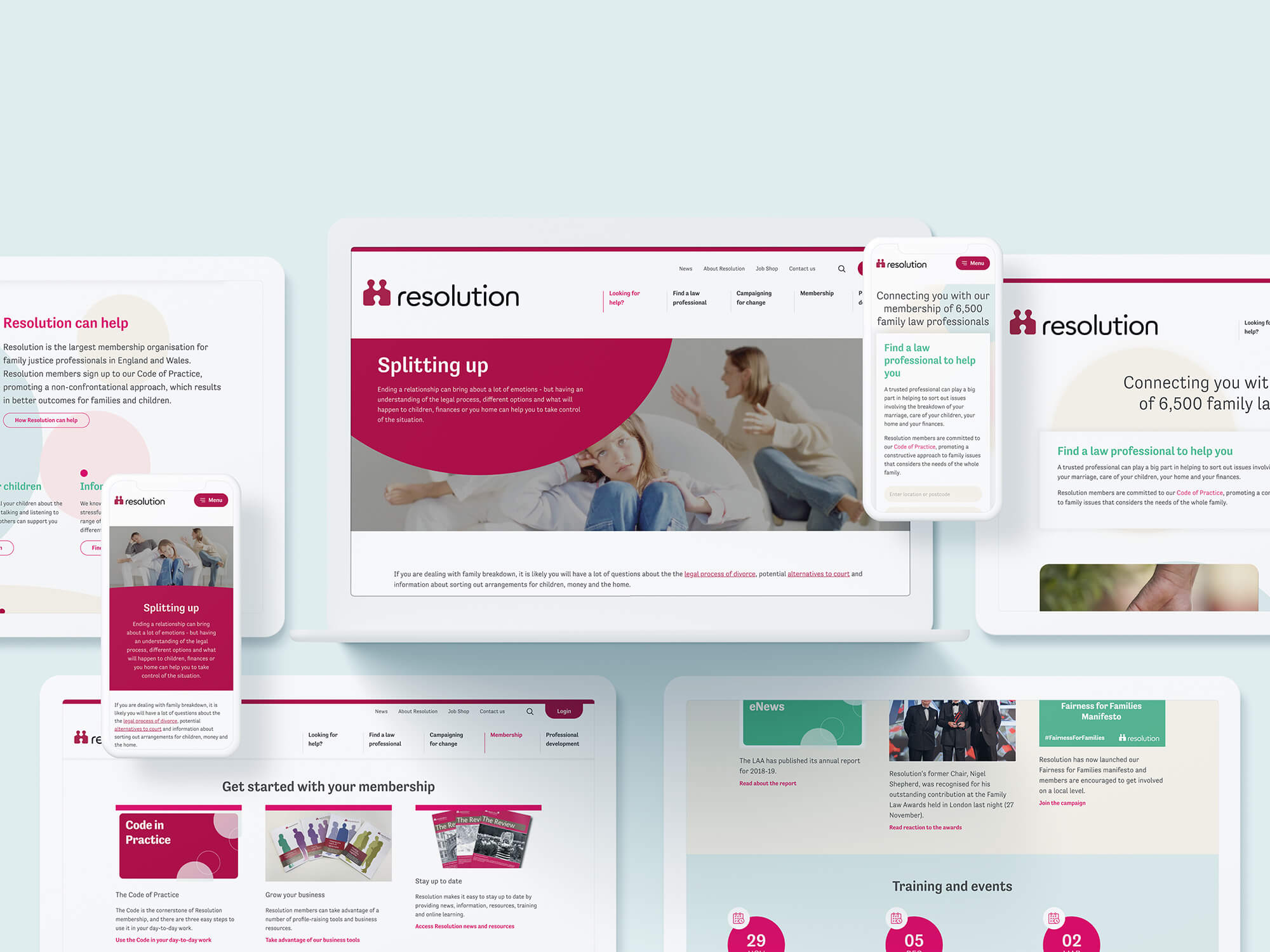 Key landing pages from Resolution's new site