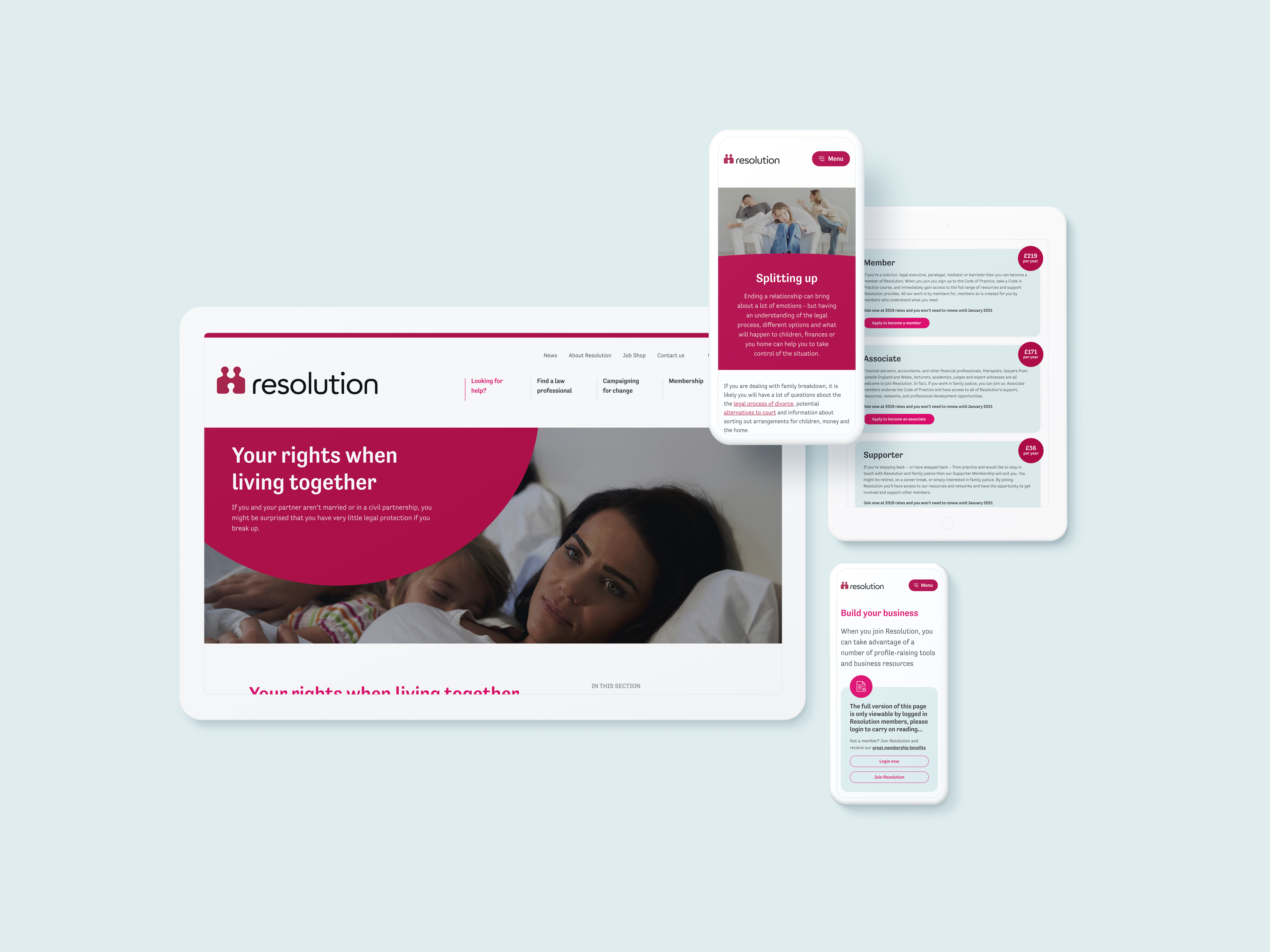 Resolution's new site as it displays on mobile and tablet devices