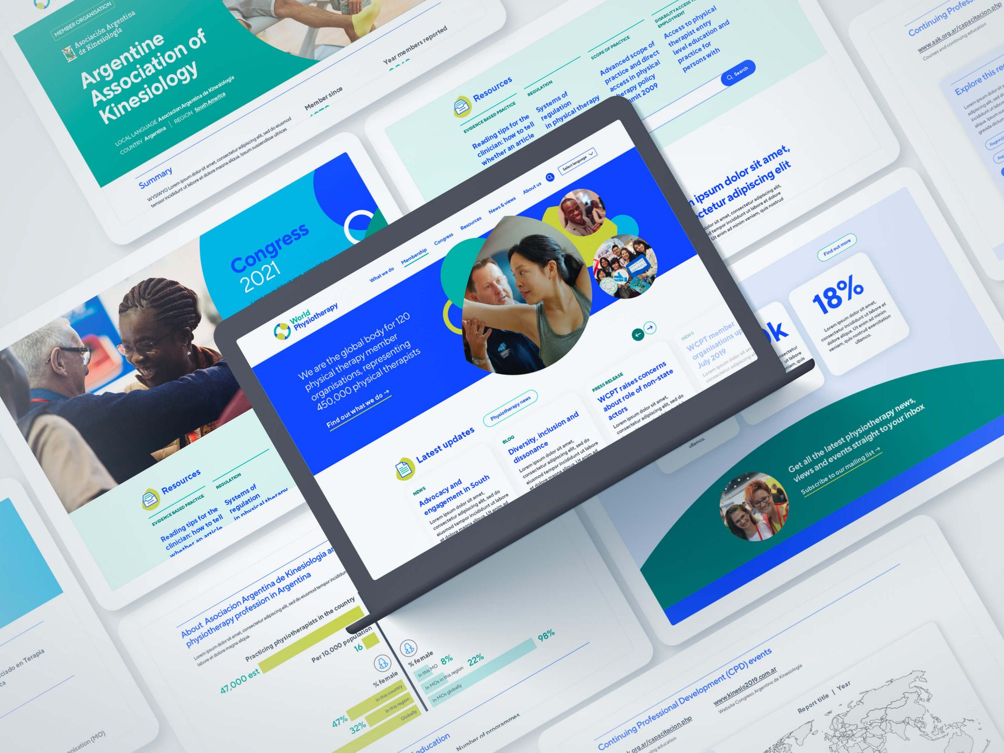 Designs of pages on the World Physiotherapy website