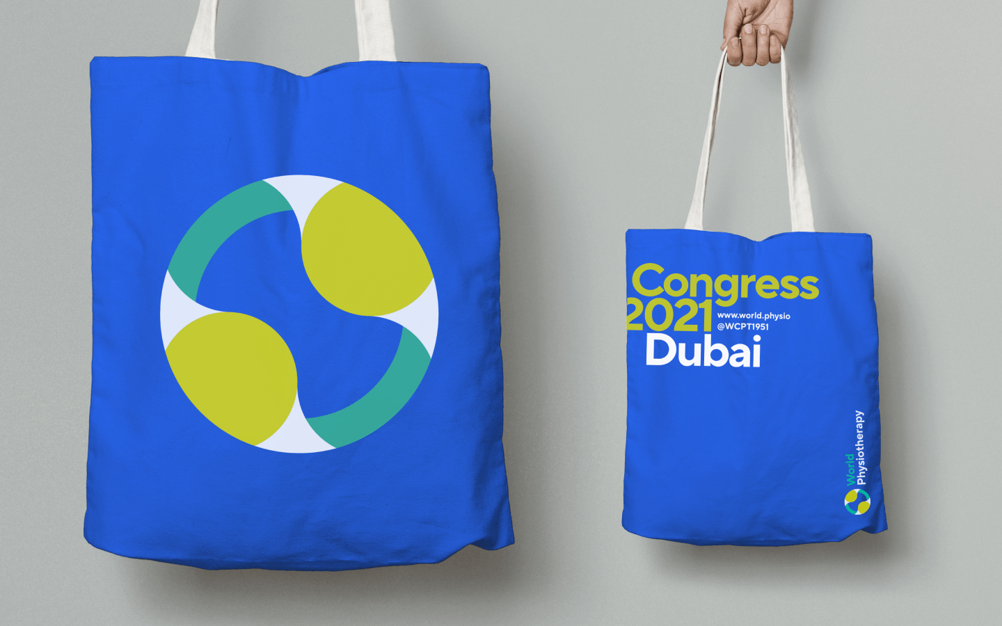 How the World Physiotherapy brand is applied to a tote bag