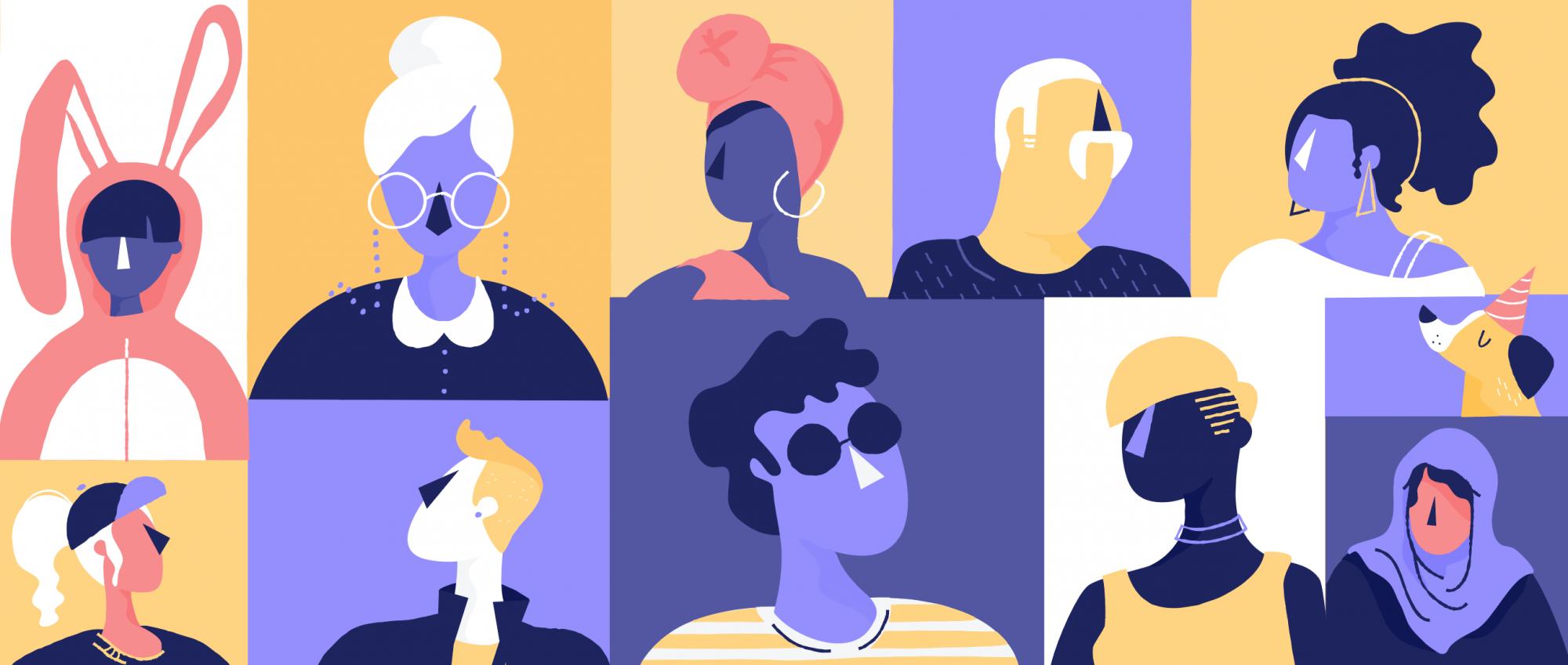 Purple people illustration by Meg Robichaud