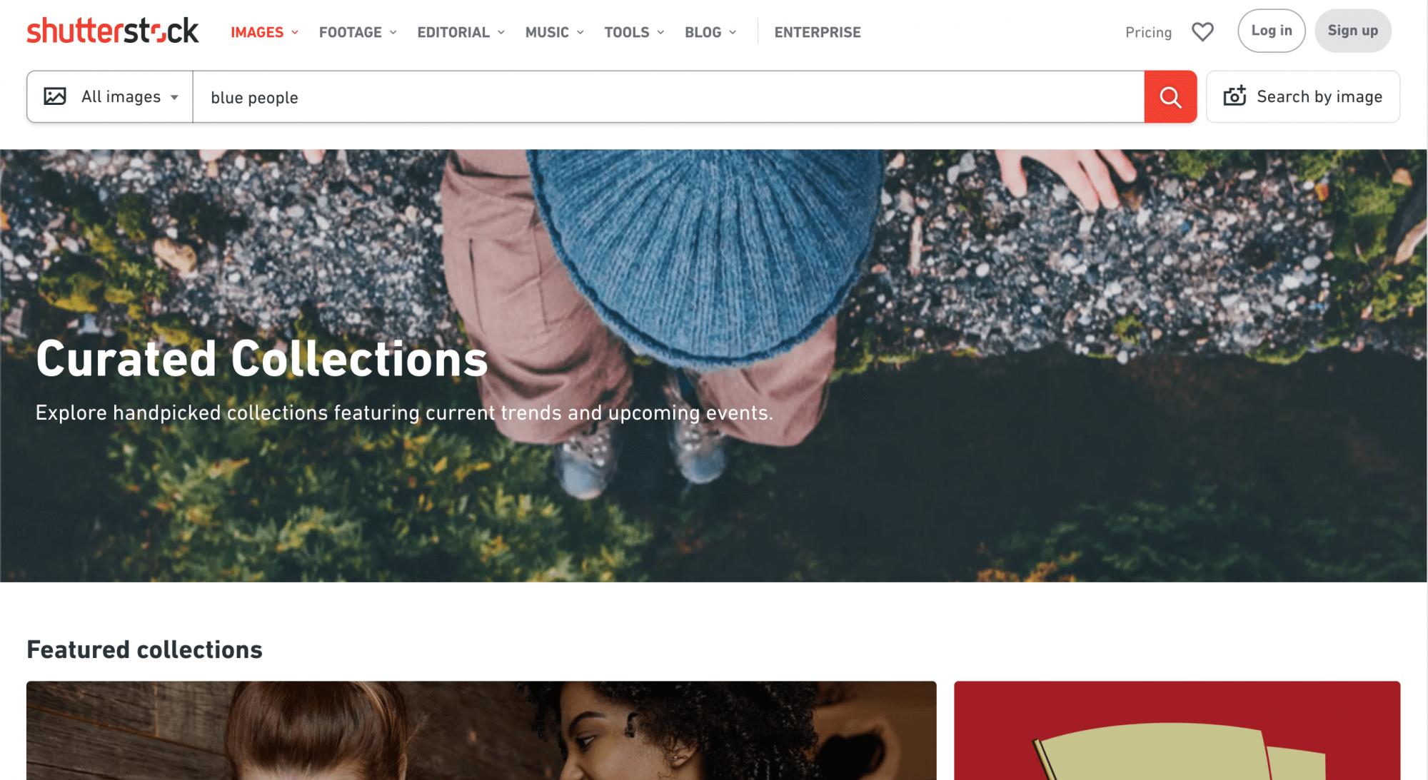 A screenshot of the Shutterstock website