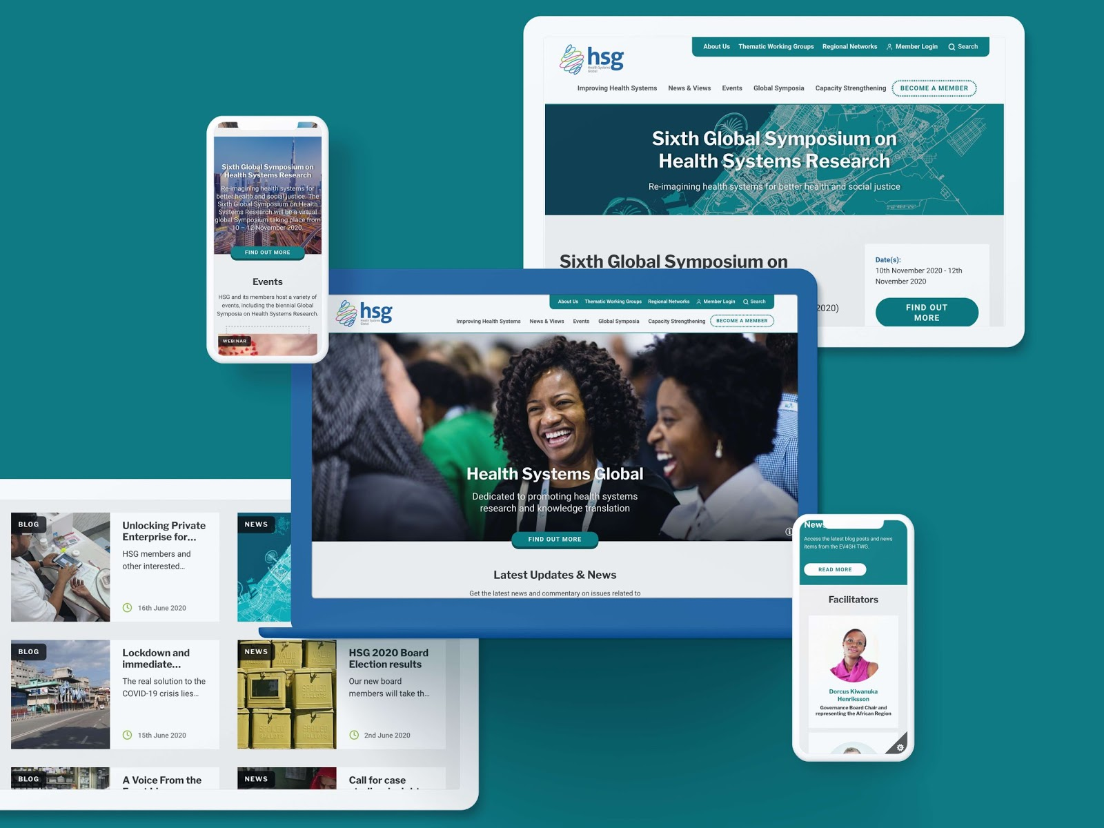 The Health Systems Global website design on various devices