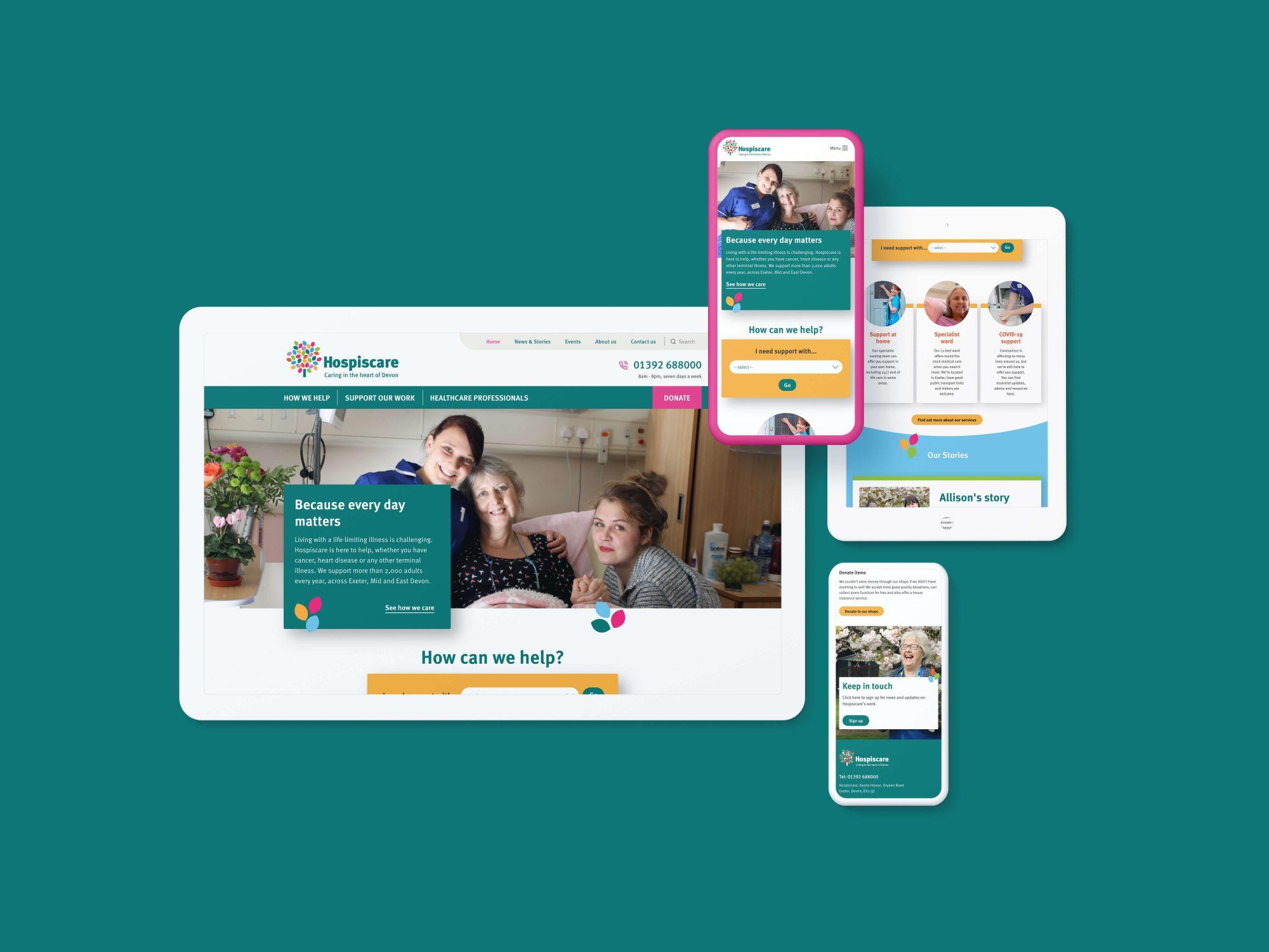 Hospiscare website design shown on devices