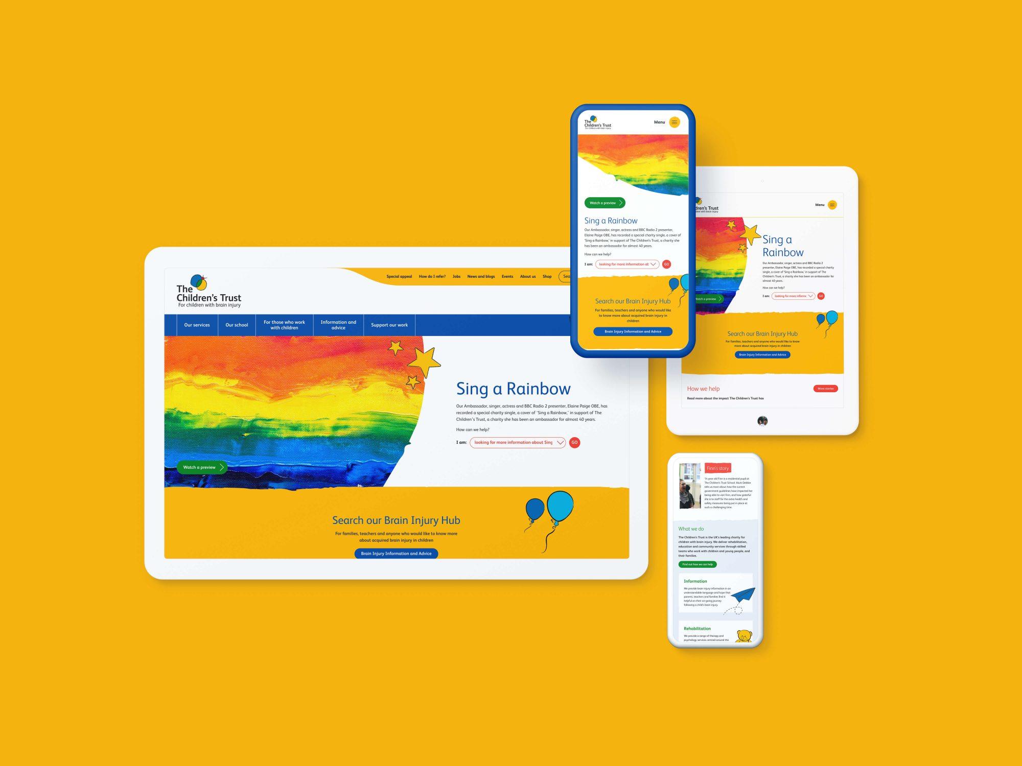 The Children's Trust website design shown on different screens