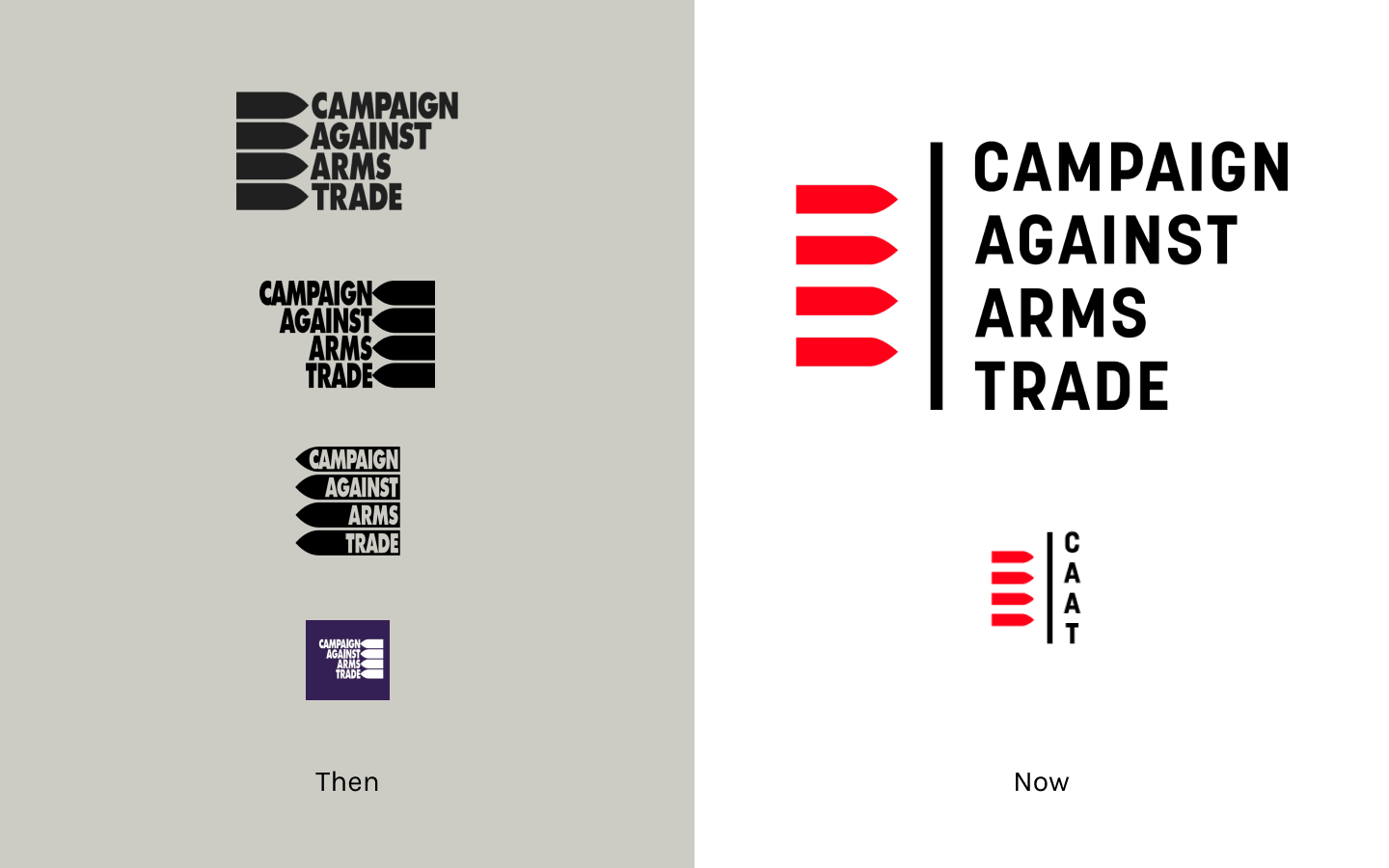 Before and after of the Campaign Against Arms Trade logo