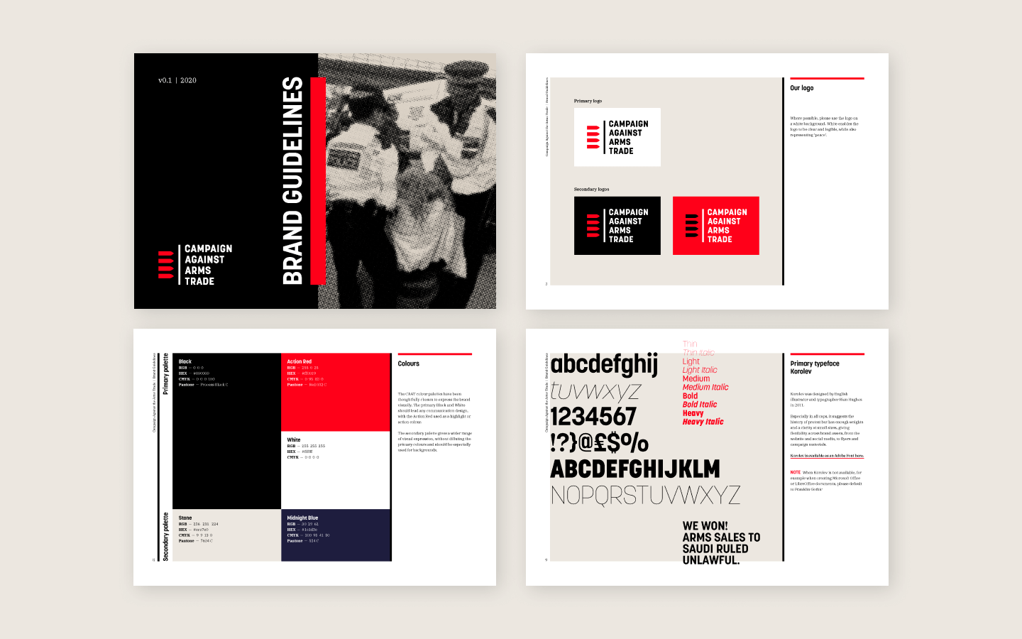 Pages from the Campaign Against Arms Trade brand guidelines
