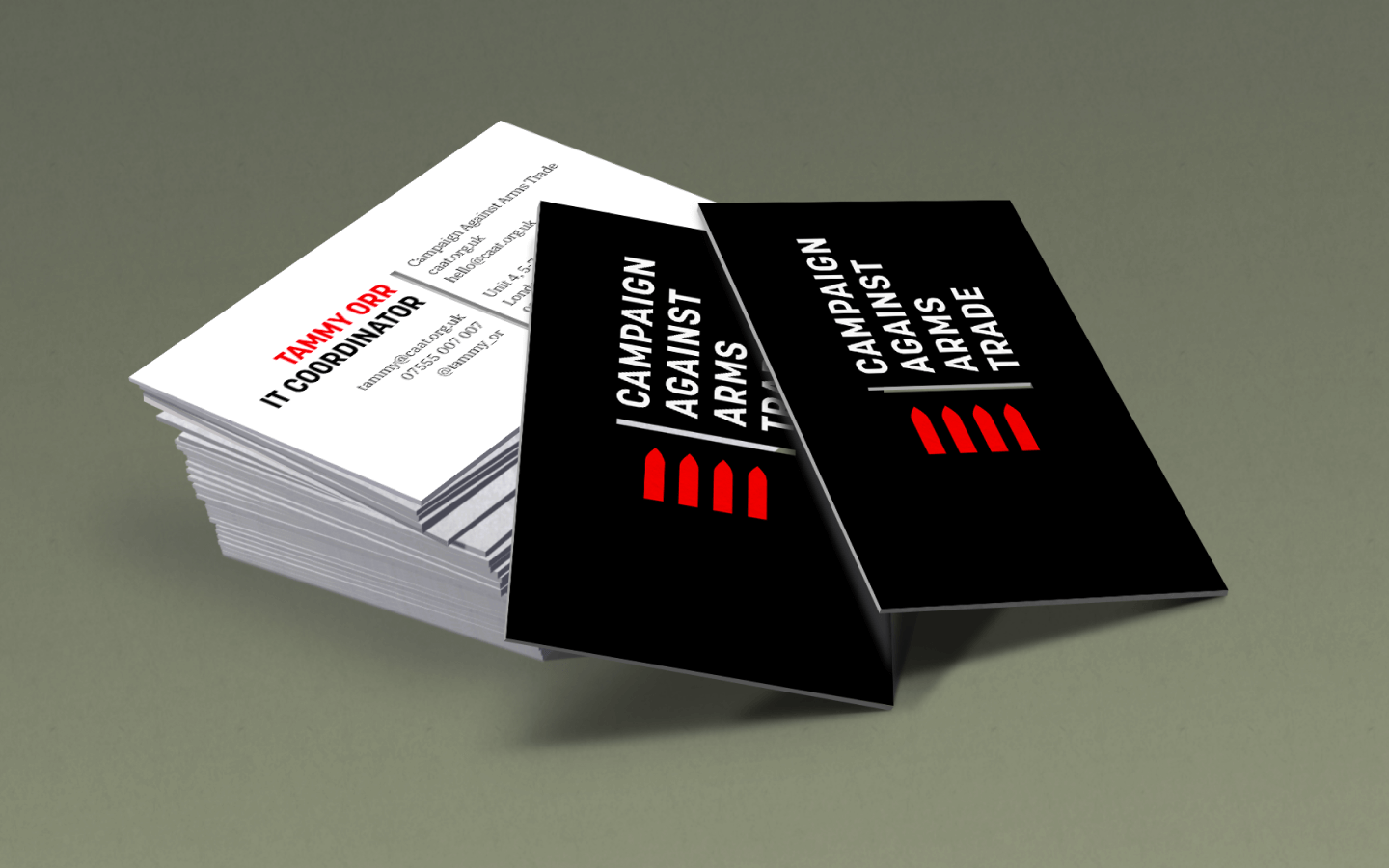 Campaign Against Arms Trade business cards