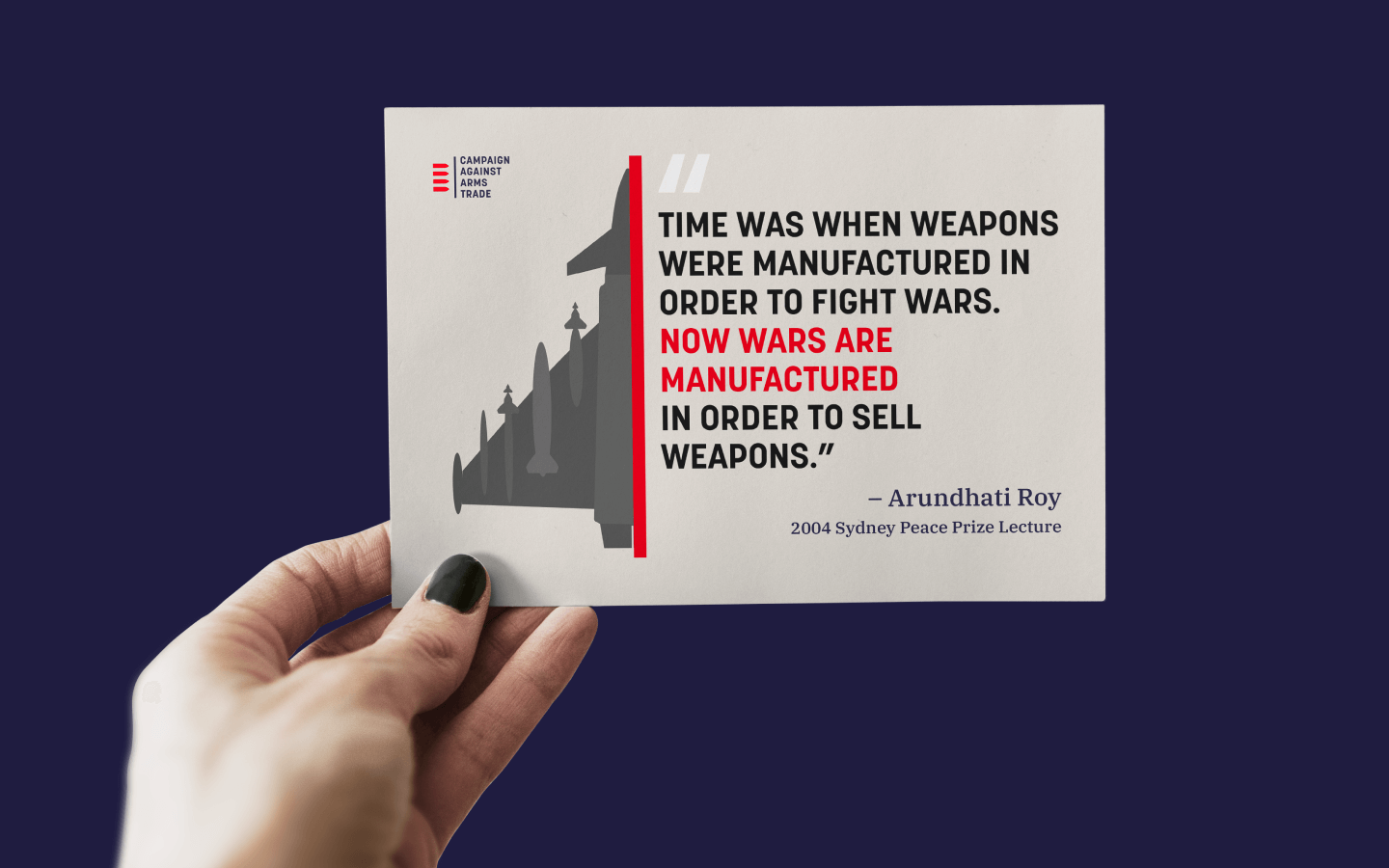 Campaign Against Arms Trade flyer design