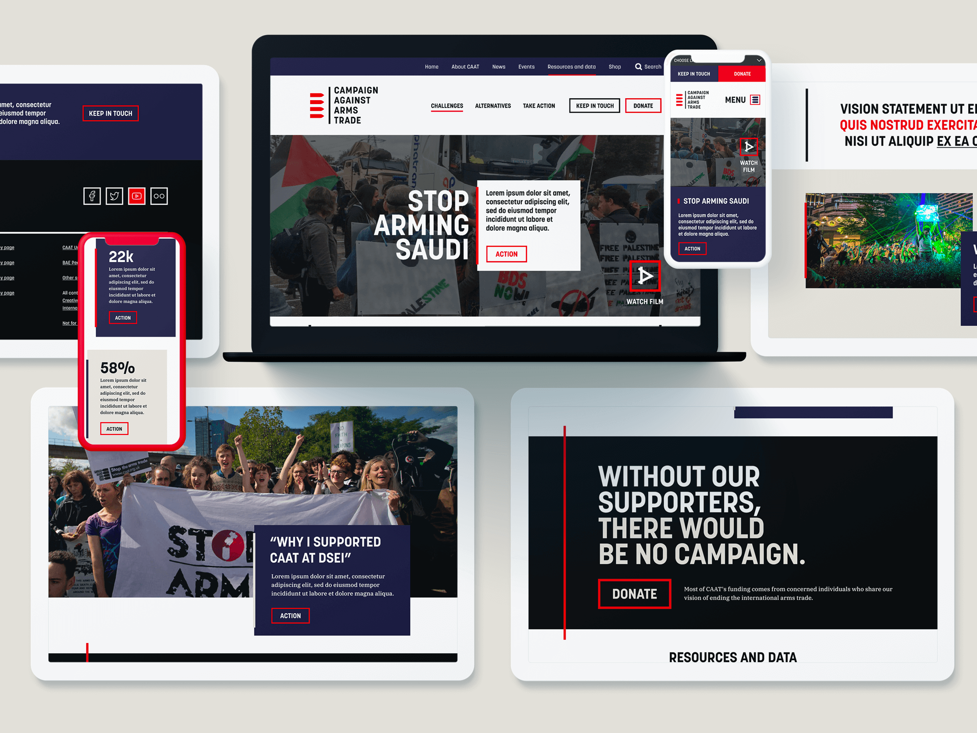 Campaign Against Arms Trade new website design