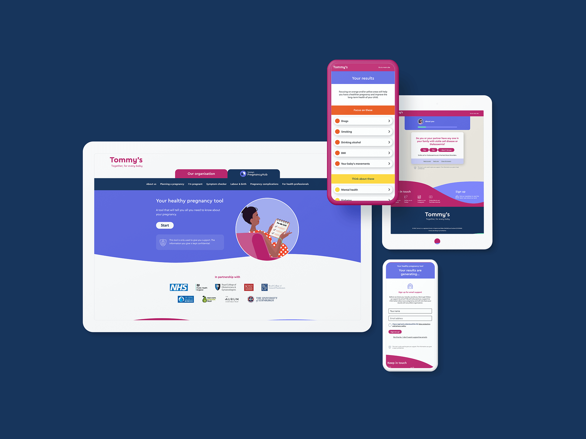 Tommy's safer pregnancy web app shown on various devices