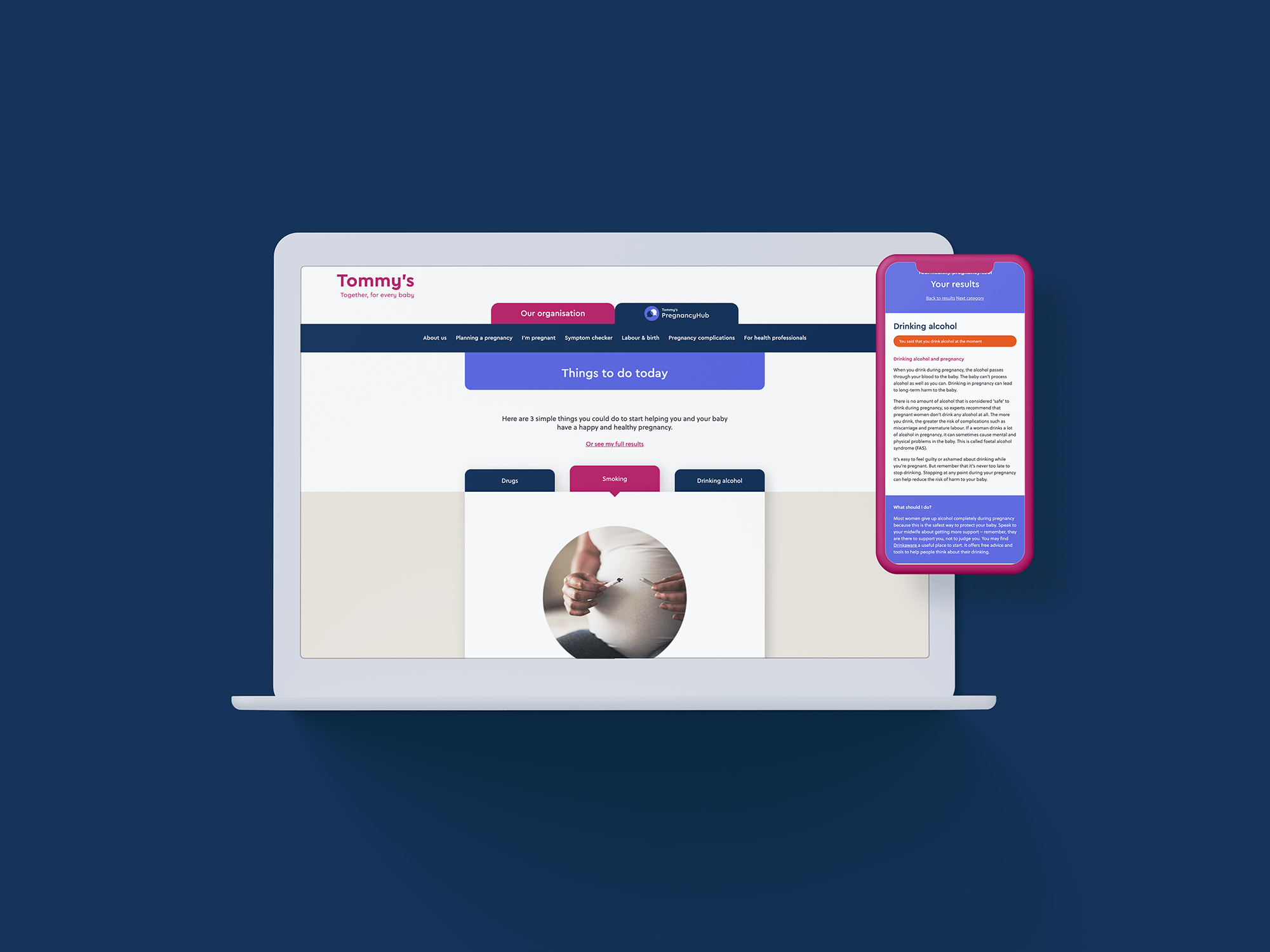 Tommy's safer pregnancy web app shown on a laptop and mobile screen
