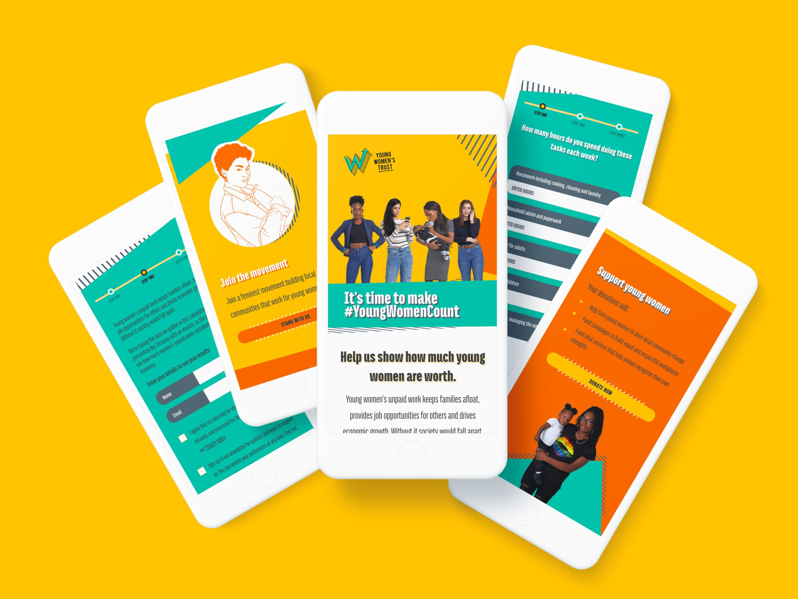 The Young Women Count campaign site on mobile devices