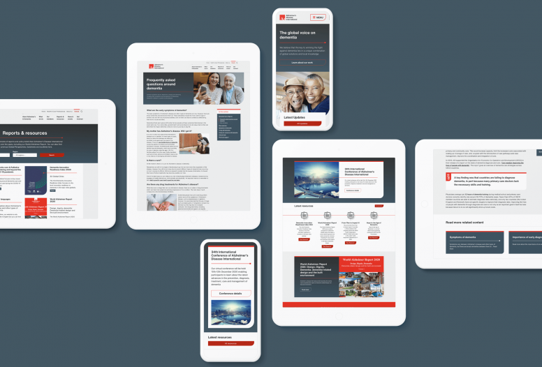 The new website design for ADI (Alzheimer's Disease International)