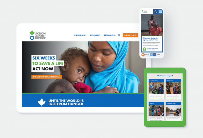 Action Against Hunger website design shown on various devices