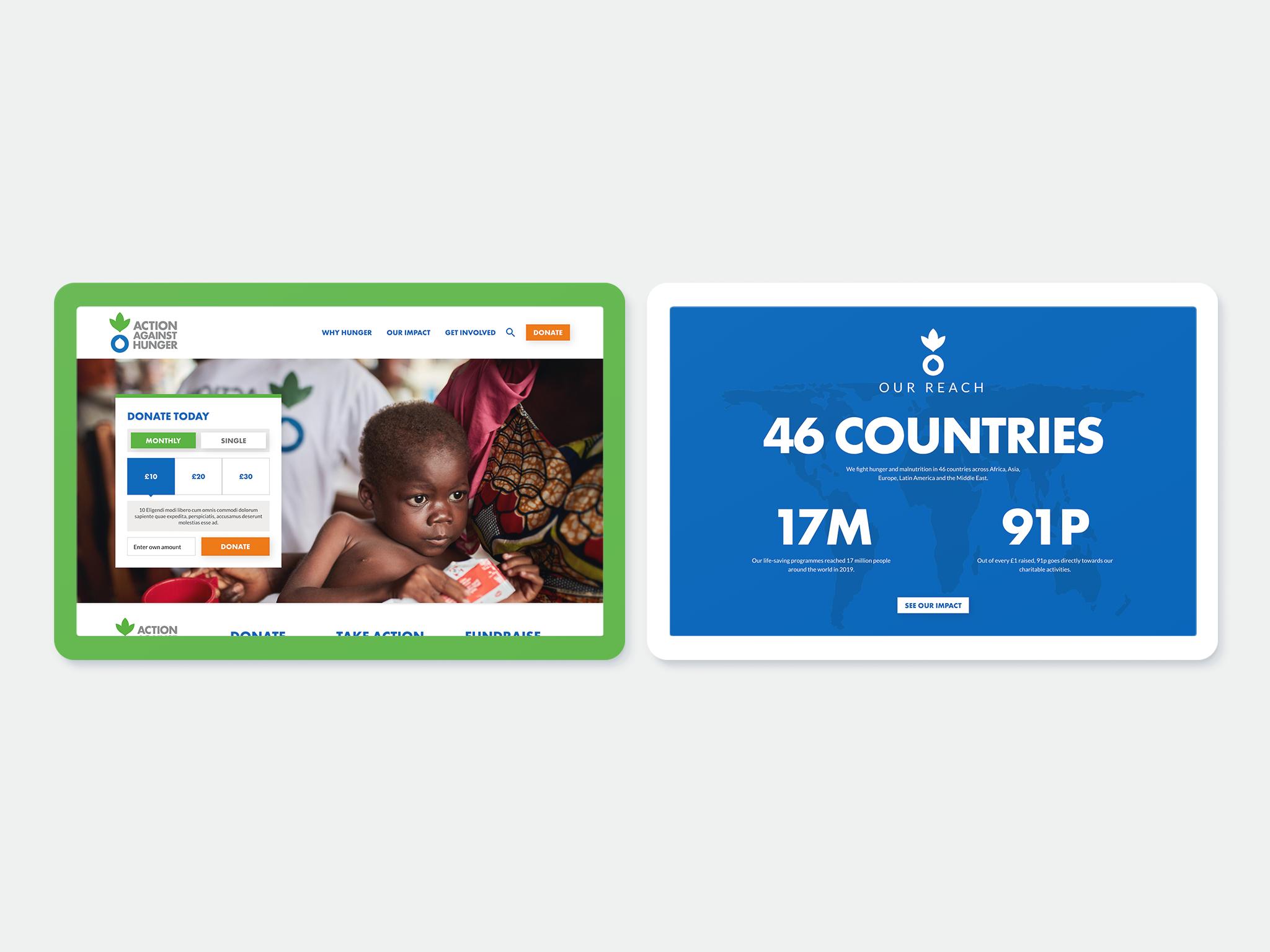 Action Against Hunger website design on two tablets