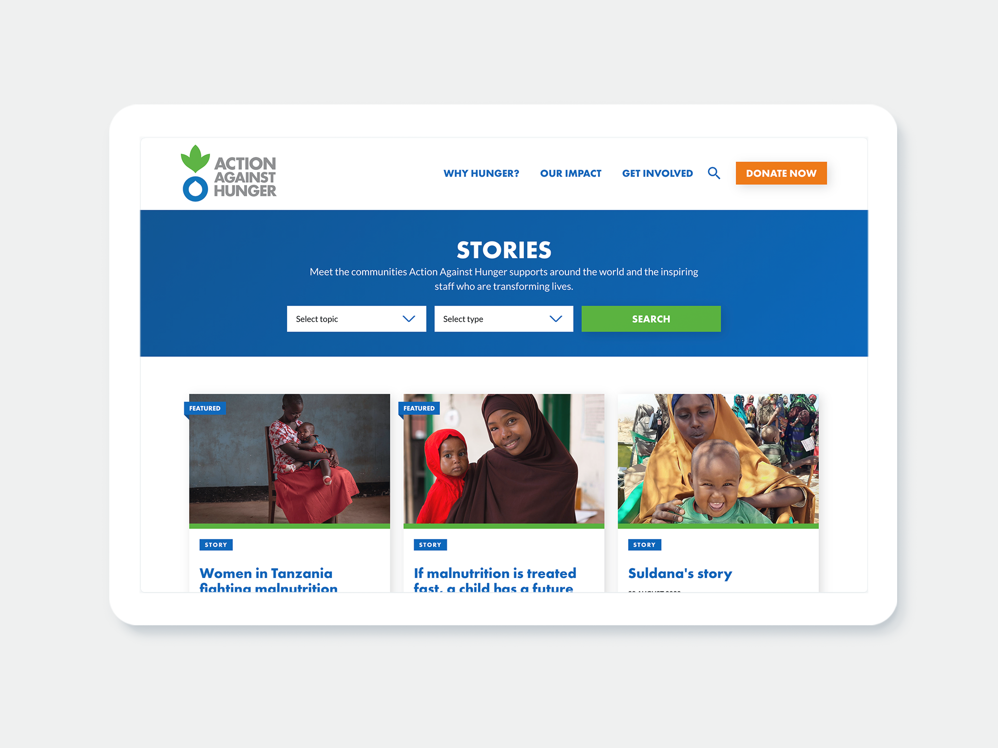 The Stories page on the AAH website