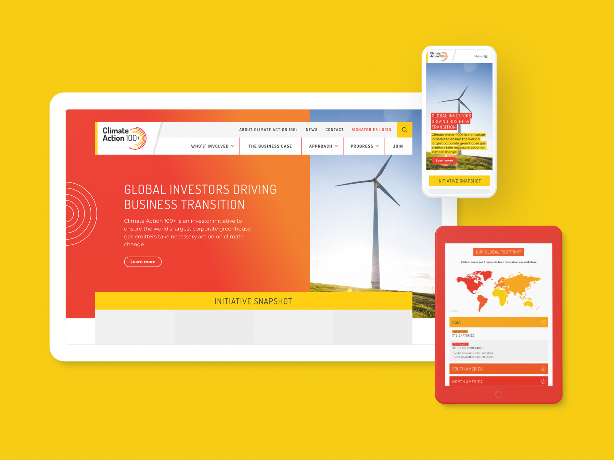 Climate Action 100+ website design