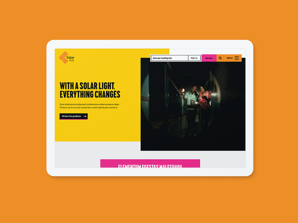 The new SolarAid homepage design by Fat Beehive
