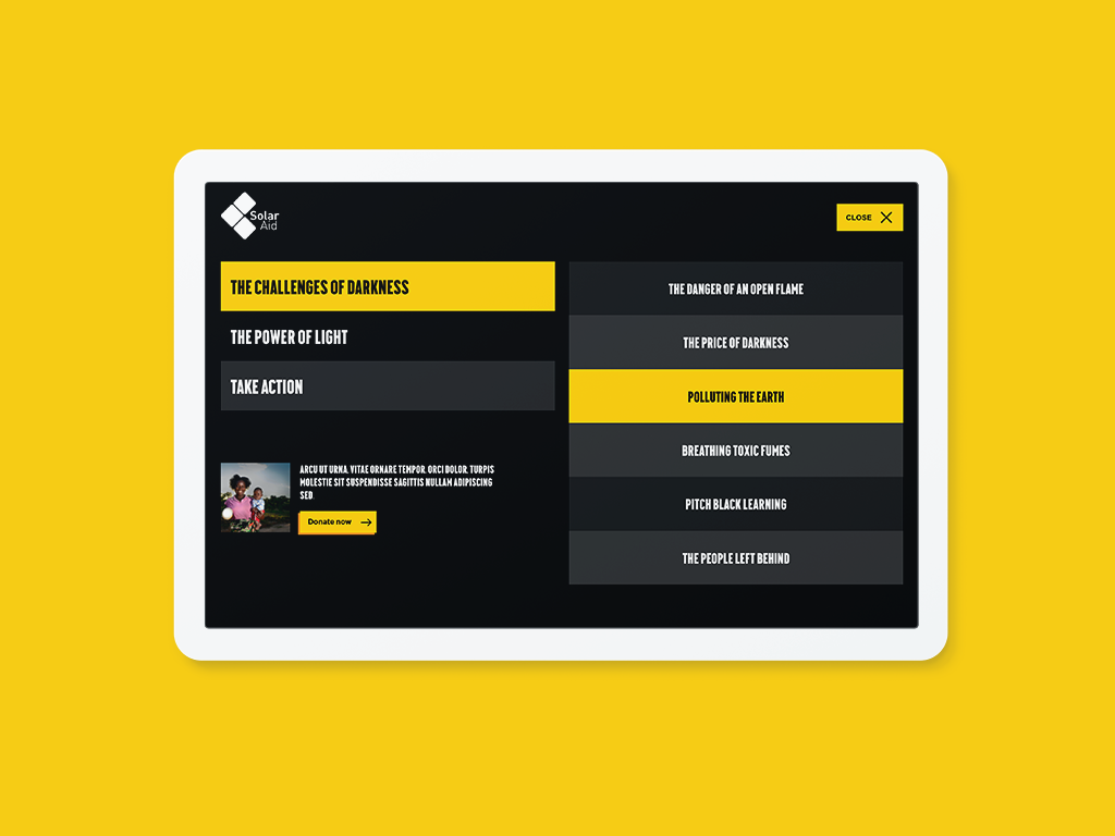 Desktop menu design for SolarAid website
