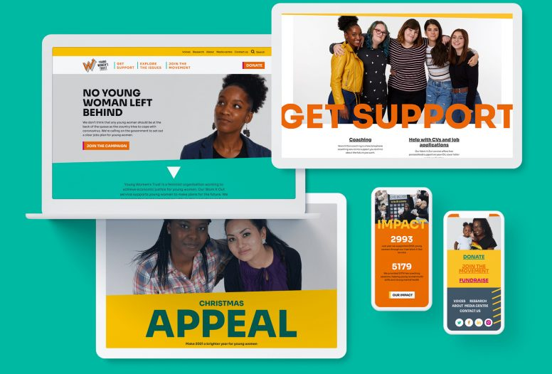 Images of the new Young Women's Trust Website in multiple devices