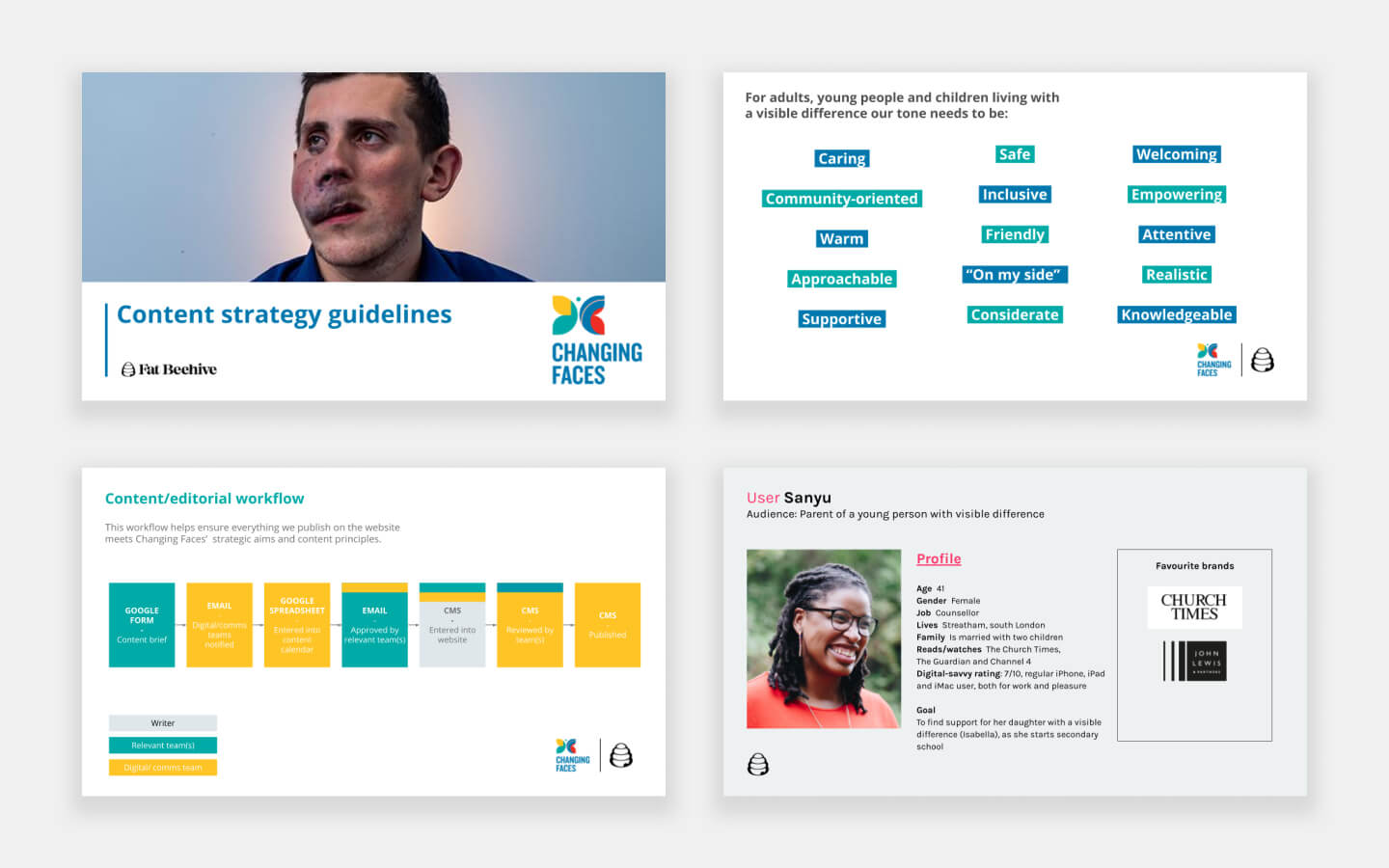 Changing Faces landing pages with differing functionality