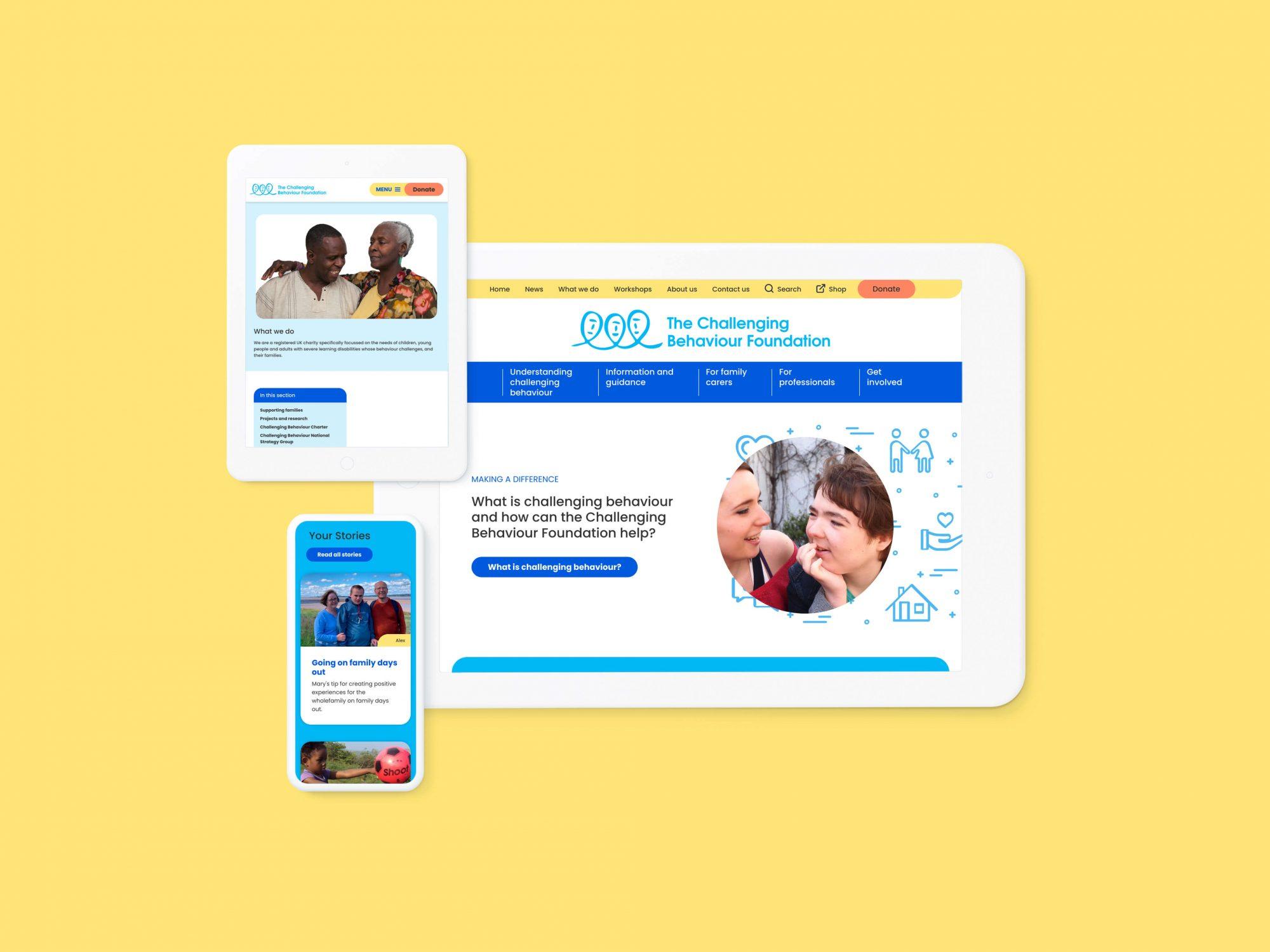 Website design of the new Challenging Behaviour Foundation website
