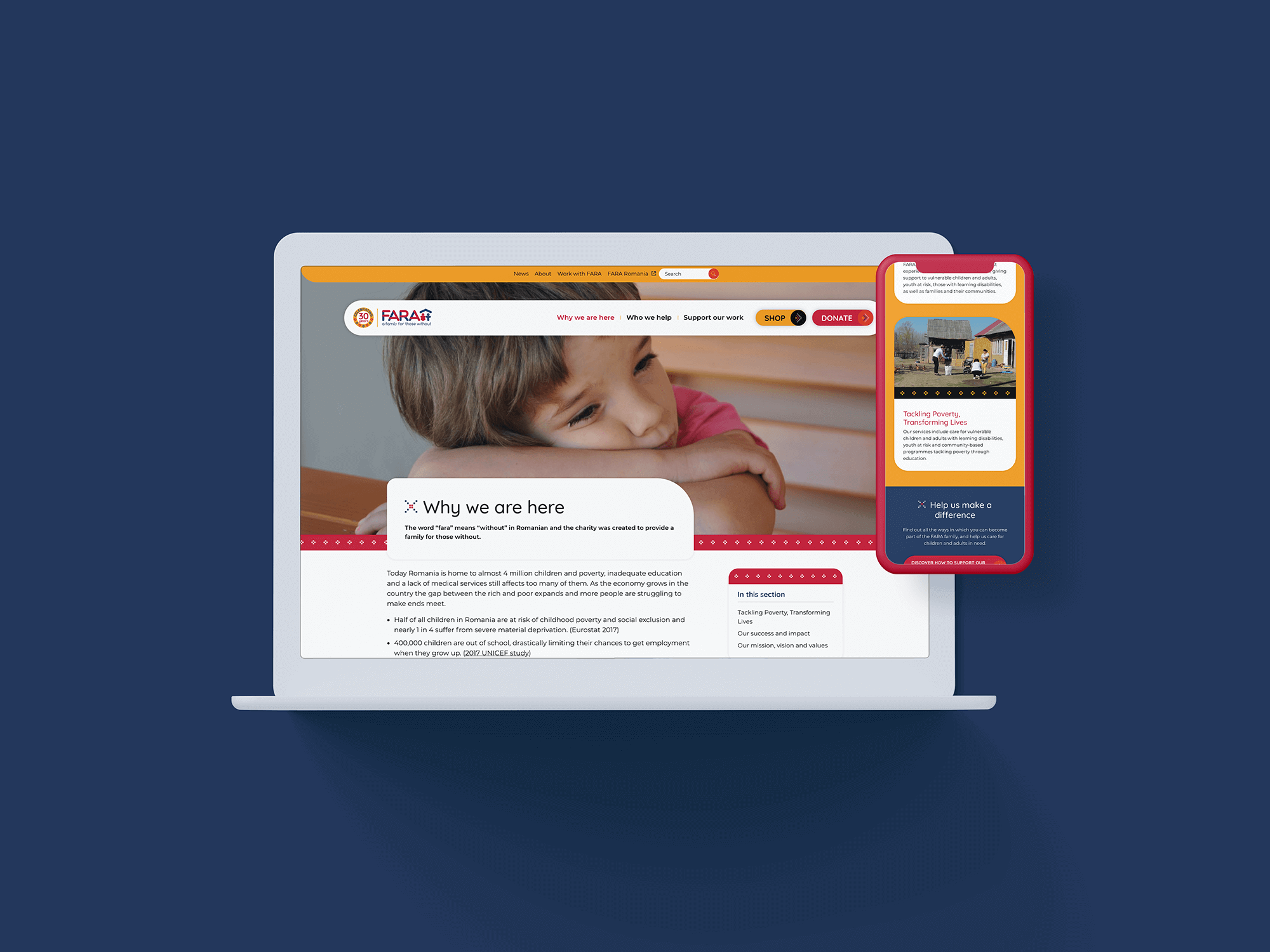 FARA new site on desktop and mobile