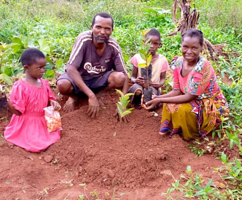 Goufrey planting trees with his family