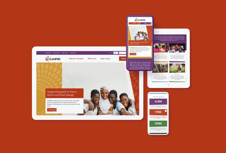 CAMFED new website on multiple device sizes